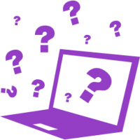 Quiz on computer with question signs around